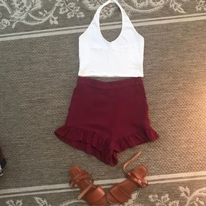 3/ $20 Maroon high waisted ruffle trim shorts